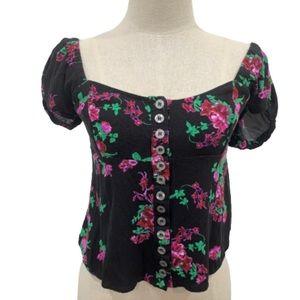 Free People black floral off shoulder blouse top